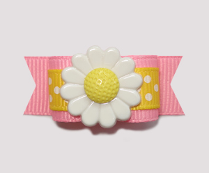 "#2215- 5/8"" Dog Bow- Cute Yellow/White Dot on Pink, Yellow Daisy"