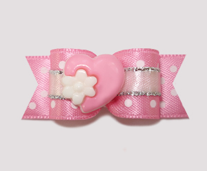 "#2217 - 5/8"" Dog Bow - Little Sugar, Sweet Heart with Flower"