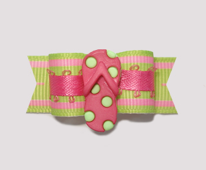 "#2218 - 5/8"" Dog Bow - Flip Flop Fun, Lime & Pink"