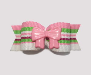 "#2220 - 5/8"" Dog Bow - Sweet Stripes with Pink Bow"