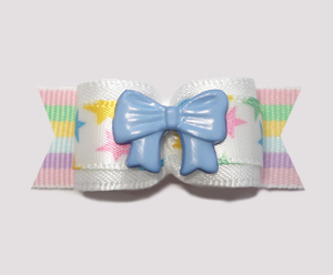 "#2221 - 5/8"" Dog Bow - My Little Boy Star, Blue Bow"