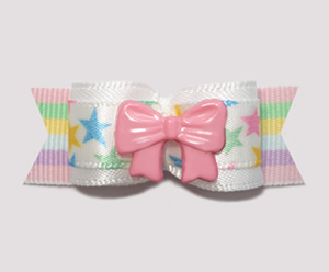 "#2222 - 5/8"" Dog Bow - My Little Girl Star, Pink Bow"