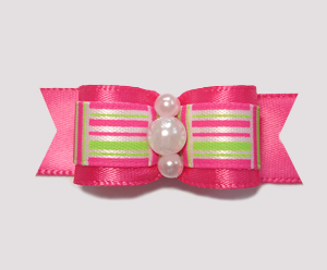 "#2223 - 5/8"" Dog Bow - Green/Hot Pink, Retro Pattern"