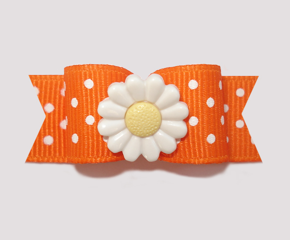 "#2225 - 5/8"" Dog Bow - Vibrant Orange Swiss Dots, Sweet Daisy"
