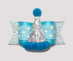 "#2228 - 5/8"" Dog Bow - Party, Party! Sparkly Silver & Blue"