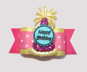 "#2231 - 5/8"" Dog Bow - ""It's My Party"" Sweetheart Pink Birthday"