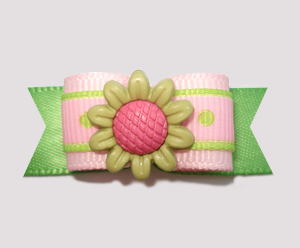 "#2236 - 5/8"" Dog Bow - Sweet Flower, Soft Pink & Green"