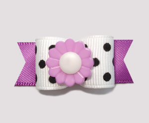 "#2237 - 5/8"" Dog Bow - Adorable Black & White with Lilac Flower"