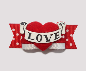 "#2240 - 5/8"" Dog Bow - Gorgeous and Unique ""Love"" Banner Bow"