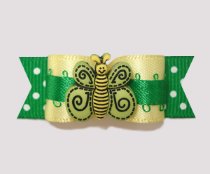 "#2243 - 5/8"" Dog Bow - Sweet Butterfly, Baby Yellow/Summer Green"