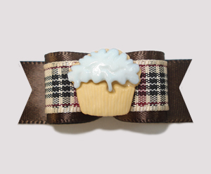 "#2246 - 5/8"" Dog Bow - Chic Designer Plaid Classic , Cupcake"