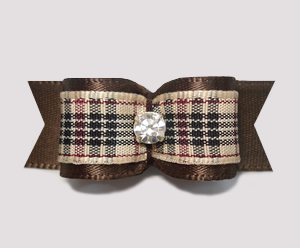 "#2248 - 5/8"" Dog Bow - Designer Plaid, Rich Brown, Rhinestone"