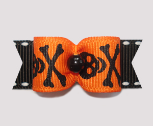 "#2252 - 5/8"" Dog Bow - Spooktacular Skull & Xbones, Black/Orange"