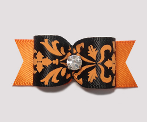 "#2256 - 5/8"" Dog Bow - Chic Black/Orange on Orange, Rhinestone"