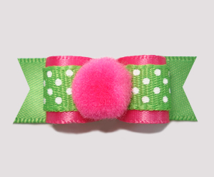 "#2260 - 5/8"" Dog Bow- Pink, Summer Green, Cute Dots, Pom Pom"