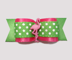 "#2261 - 5/8"" Dog Bow - Pink, Summer Green, Cute Dots, Flamingo"