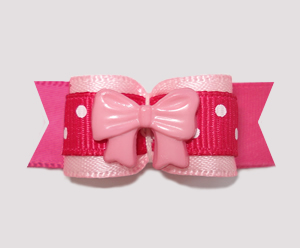 "#2266 - 5/8"" Dog Bow - Pink on Pink, Dots, Little Sweetheart Bow"