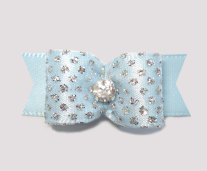 "#2274- 5/8"" Dog Bow - Prince/Princess Sparkle & Bling, Soft Blue"