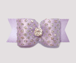 "#2276 - 5/8"" Dog Bow - Princess Sparkle & Bling, Soft Lavender"