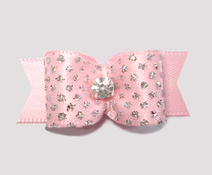 "#2277 - 5/8"" Dog Bow - Princess Sparkle & Bling, Soft Pink"