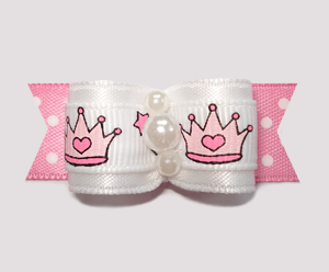 "#2280 - 5/8"" Dog Bow - Cute Little Princess, Crowns, Pink/White"