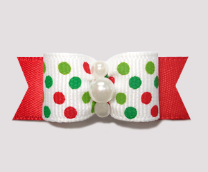 "#2283 - 5/8"" Dog Bow - Festive Candy Cane Dots on Red"
