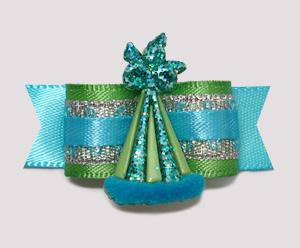 "#2298 - 5/8"" Dog Bow- Green/Blue, Celebrity Sparkle, Party Hat"