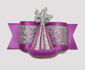 "#2299- 5/8"" Dog Bow- Orchid Purple, Celebrity Sparkle, Party Hat"