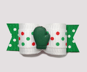"#2305 - 5/8"" Dog Bow- Let It Snow! Green Mitten, Candy Cane Dots"