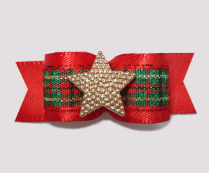 "#2309 - 5/8"" Dog Bow - Holiday Star, Red Satin/Plaid/Gold"