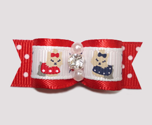 "#2312 - 5/8"" Dog Bow - Darling Little Yorkies on Red Dots"