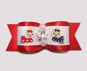"#2313 - 5/8"" Dog Bow - Darling Yorkies, Classic Red, Rhinestone"