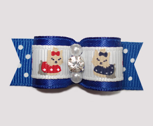 "#2314 - 5/8"" Dog Bow - Darling Little Yorkies on Blue Dots"