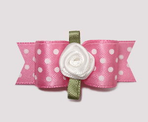 "#2316 - 5/8"" Dog Bow - Little Sugar, Pink/White Dots, Rosette"