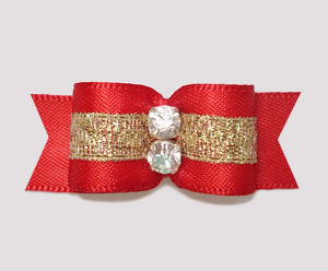 "#2318 - 5/8"" Dog Bow - Beautiful Classic Red Satin w/Sparkle"