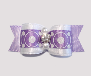 "#2323 - 5/8"" Dog Bow - Bubblegum Dots, Purple, Rhinestone"