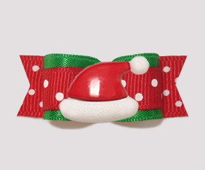 "#2327 - 5/8"" Dog Bow - Sweet Red & Green Dots, Santa Hat"