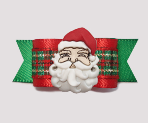 "#2337- 5/8"" Dog Bow- Classic Holiday Santa, Green/Gold/Red Plaid"