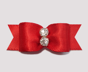 "#2342 - 5/8"" Dog Bow - Classic Red Satin, Double Rhinestone"