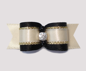 "#2343 - 5/8"" Dog Bow - Gorgeous Tuxedo, Cream/Black/Gold"
