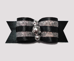 "#2344 - 5/8"" Dog Bow - Classic Black Satin & Sparkly Silver"