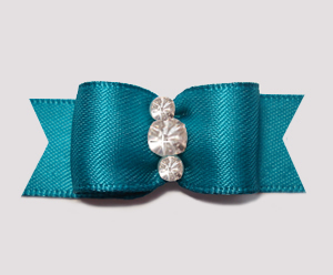 "#2347 - 5/8"" Dog Bow - Satin, Deep Teal, Triple Rhinestones"