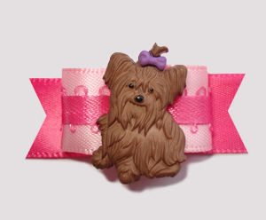 "#2356 - 5/8"" Dog Bow - Adorable Little Yorkie, Pretty In Pink"