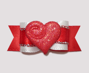 "#2357 - 5/8"" Dog Bow - Sparkly Heart, Sweetheart Red"