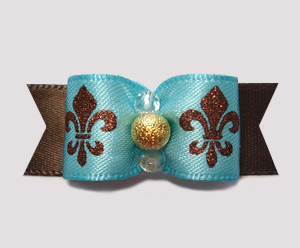 "#2364 - 5/8"" Dog Bow - Fleur de Lis, Blue w/Brown Sparkle & Gold"