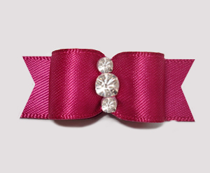 "#2365 - 5/8"" Dog Bow - Satin, Raspberry, Triple Rhinestones"