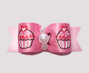"#2366 - 5/8"" Dog Bow - Adorable Sweetheart Cupcakes on Pink"