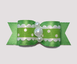"#2369 - 5/8"" Dog Bow - Country Cottage Ruffle, Summer Green"