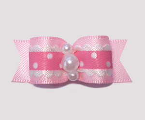 "#2370 - 5/8"" Dog Bow - Country Cottage Ruffle, Carnation Pink"