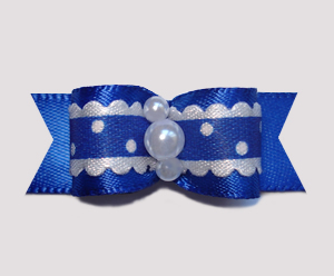 "#2371 - 5/8"" Dog Bow - Country Cottage Ruffle, Navy Blue"